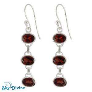 Sterling Silver Garnet Earring SDER2166 SkyDivine Jewellery