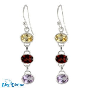 925 Sterling Silver Multi Stones Earring SDER2176 SkyDivine Jewellery