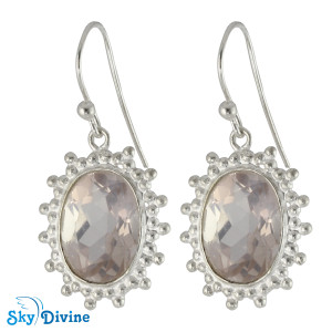 Sterling Silver Rose Quartz Earring SDER2177 SkyDivine Jewellery