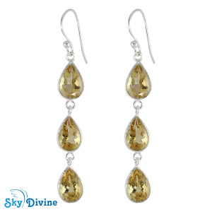 925 Sterling Silver Citrine Earring SDER2195 SkyDivine Jewellery
