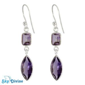 Sterling Silver amethyst Earring SDER2196 SkyDivine Jewellery