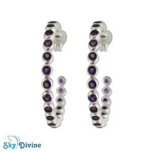 Sterling Silver amethyst Earring SDAER26 SkyDivine Jewellery