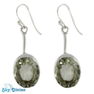 925 Sterling Silver Green Amethyst Earring SDER2137a SkyDivine Jewelry