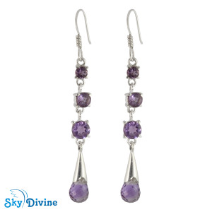 925 Sterling Silver amethyst Earring SDAER23c SkyDivine Jewellery