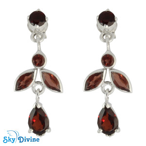 Sterling Silver Garnet Earring SDAER19b SkyDivine Jewellery