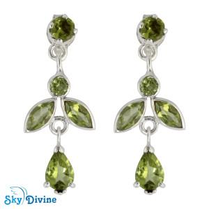 925 Sterling Silver peridot Earring SDAER19c SkyDivine Jewelry