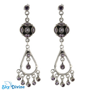 Sterling Silver amethyst Earring SDAER25c SkyDivine Jewelry