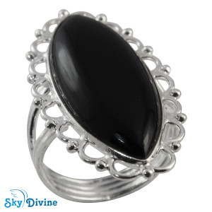 Sterling Silver Black Onyx Ring SDR2100 SkyDivine Jewellery RingSize 8.5 US