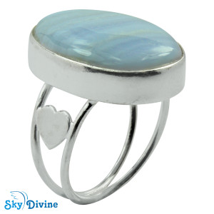 925 Sterling Silver Blueless Agate Ring SDR2103 SkyDivine Jewellery RingSize 8 US