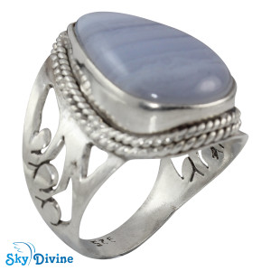 Sterling Silver Blueless Agate Ring SDR2122 SkyDivine Jewelry RingSize 7 US