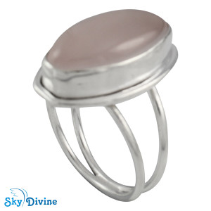 Sterling Silver Rose Quartz Ring SDR2128 SkyDivine Jewelry RingSize 8 US