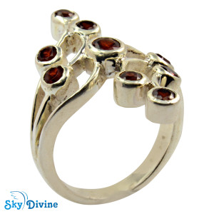 Sterling Silver Garnet Ring SDR2133 SkyDivine Jewellery RingSize 8 US