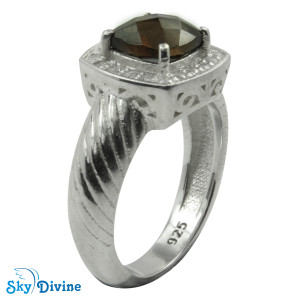 925 Sterling Silver smoky topaz Ring SDR2137 SkyDivine Jewellery RingSize 6 US