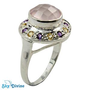 Sterling Silver Rose Quartz Ring SDR2140 SkyDivine Jewellery RingSize 9 US