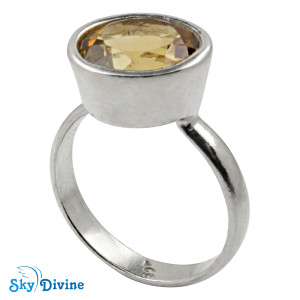 925 Sterling Silver Citrine Ring SDR2143 SkyDivine Jewellery RingSize 7.5 US
