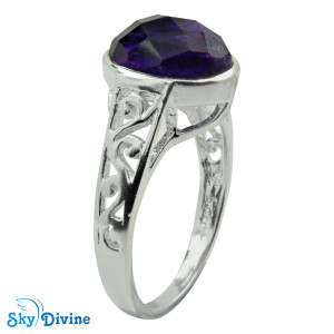 925 Sterling Silver amethyst Ring SDR2145 SkyDivine Jewelry RingSize 8 US