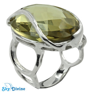 Sterling Silver lemon topaz Ring SDR2154 SkyDivine Jewelry RingSize 7.5 US