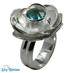 Sterling Silver blue topaz Ring SDR2156 SkyDivine Jewellery RingSize 7 US