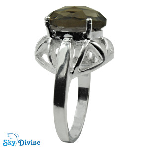 925 Sterling Silver smoky topaz Ring SDR2157 SkyDivine Jewelry RingSize 7.5 US