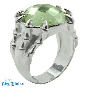 Sterling Silver Green Amethyst Ring SDR2167 SkyDivine Jewelry RingSize 7.5 US