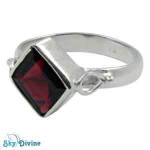 Sterling Silver Garnet Ring SDR2178 SkyDivine Jewellery RingSize 9 US