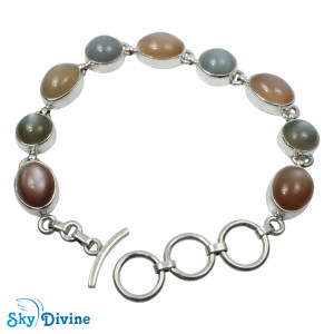 925 Sterling Silver moon stone Bracelet SDABR10 SkyDivine Jewellery