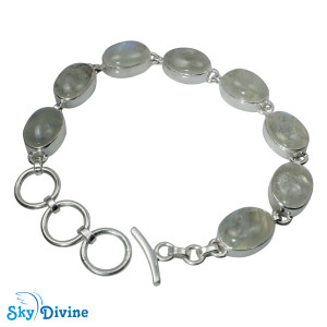Sterling Silver Rainbow moon Stone Bracelet SDBR2103 SkyDivine Jewelry
