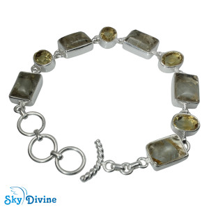 Sterling Silver Golden Rutile Bracelet SDBR2108 SkyDivine Jewellery