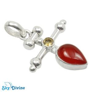 925 Sterling Silver Citrine Pendant SDAPN21 SkyDivine Jewellery