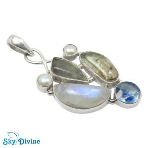Sterling Silver moon stone Pendant SDAPN13c SkyDivine Jewelry