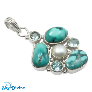 925 Sterling Silver turquoise Pendant SDAPN13b SkyDivine Jewellery