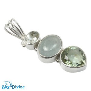 Sterling Silver Green Amethyst Pendant SDAPN13d SkyDivine Jewelry