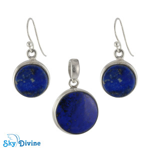 925 Sterling Silver lapis lazuli Set SDAERP13 SkyDivine Jewellery