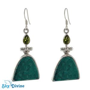 925 Sterling Silver peridot Earring SDAER07 SkyDivine Jewelry