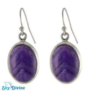 925 Sterling Silver amethyst Earring SDAER10 SkyDivine Jewellery