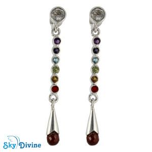 925 Sterling Silver Multi Stones Earring SDAER18 SkyDivine Jewelry