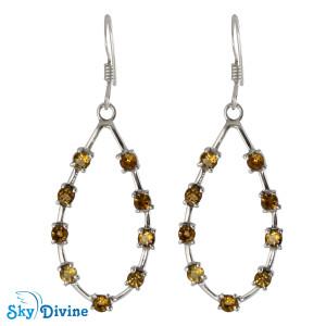 925 Sterling Silver Citrine Earring SDAER24 SkyDivine Jewellery