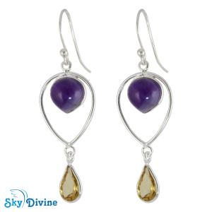 Sterling Silver amethyst Earring SDER2127 SkyDivine Jewellery