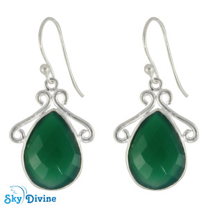 Sterling Silver green onyx Earring SDER2129 SkyDivine Jewellery