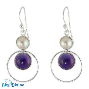 925 Sterling Silver Pearl Earring SDER2132 SkyDivine Jewellery