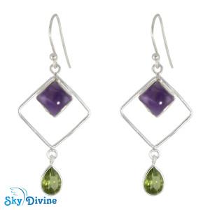 Sterling Silver amethyst Earring SDER2133 SkyDivine Jewellery