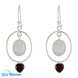 Sterling Silver moon stone Earring SDER2141 SkyDivine Jewelry