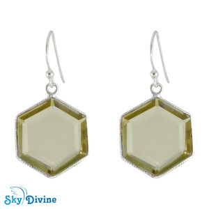 Sterling Silver lemon topaz Earring SDER2145 SkyDivine Jewellery