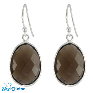 925 Sterling Silver smoky topaz Earring SDER2147 SkyDivine Jewellery