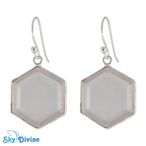 Sterling Silver Rose Quartz Earring SDER2154 SkyDivine Jewelry
