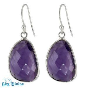 Sterling Silver amethyst Earring SDER2160 SkyDivine Jewelry