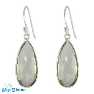 925 Sterling Silver Green Amethyst Earring SDER2161 SkyDivine Jewellery
