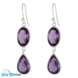 Sterling Silver amethyst Earring SDER2164 SkyDivine Jewellery