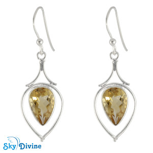 Sterling Silver Citrine Earring SDER2171 SkyDivine Jewellery