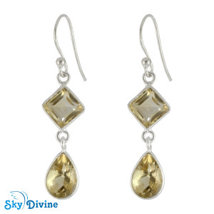 Sterling Silver Citrine Earring SDER2184 SkyDivine Jewellery